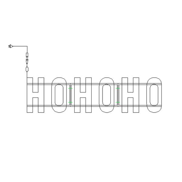 Bilde av Ho Ho Ho julelysskilt 150x38
